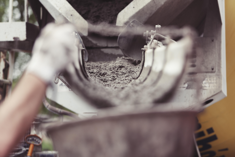 Concrete mix in a chute